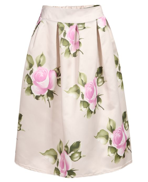 Apricot Rose Print Flare Skirt 22.00