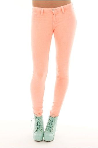 High waisted colored skinny pants – Global trend jeans models