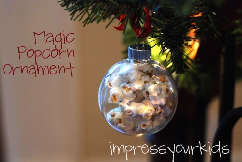 Magic Popcorn Christmas Ornament--pour popcorn kernels in a clear glass ornament, put in the microwave and...MAGIC!