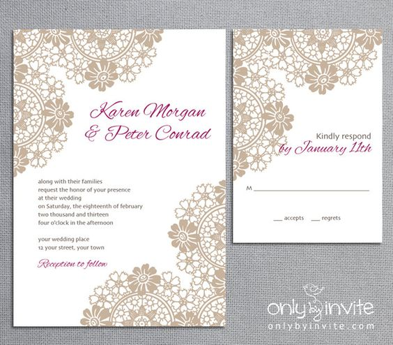 Lace Classic Vintage Printable Wedding Invitation DIY Roses Flowers