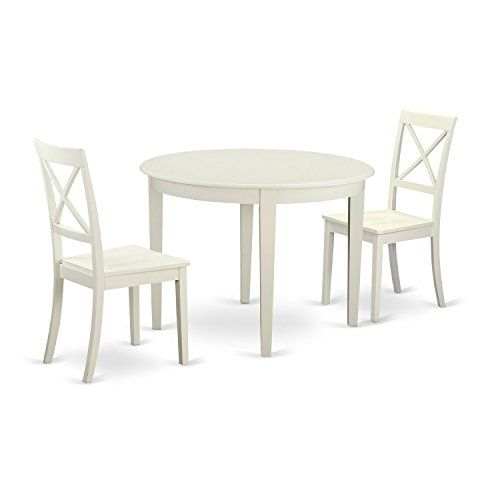 East West Furniture Bost3whiw 3 Piece Small Kitchen Table And 2 Chairs Set For 2 People Solid Wood Dining Chairs Round Dining Table Sets Solid Wood Dining Set