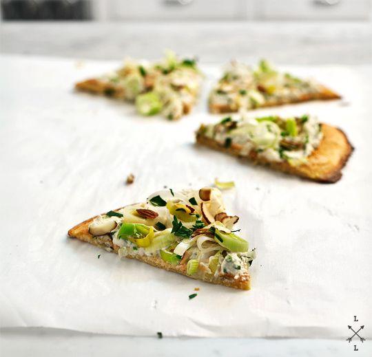"socca & leek ""tart"" with herbed almond spread from loveandlemons"