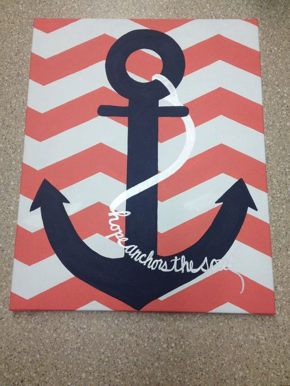 Anchor painted 'hope anchors the soul' chevron painted on canvas.
