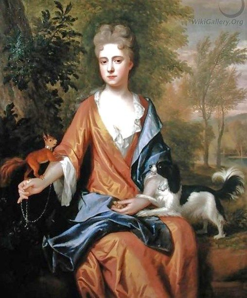 1600s Frederic Kerseboom (1632-1690) Lady with a Red Squirrel on a chain and a Spaniel: