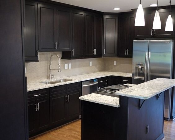 Modern Small Kitchen Design Dark Cabinets With Nice Pendant Lamp ...