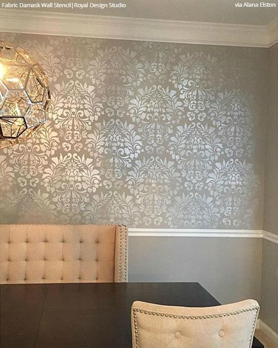 Dare To Be Different With Dining Room Stencils Damask Wall Stencils Damask Wall Stencils Wall
