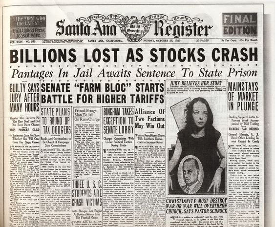 Image result for the great depression newspaper clippings