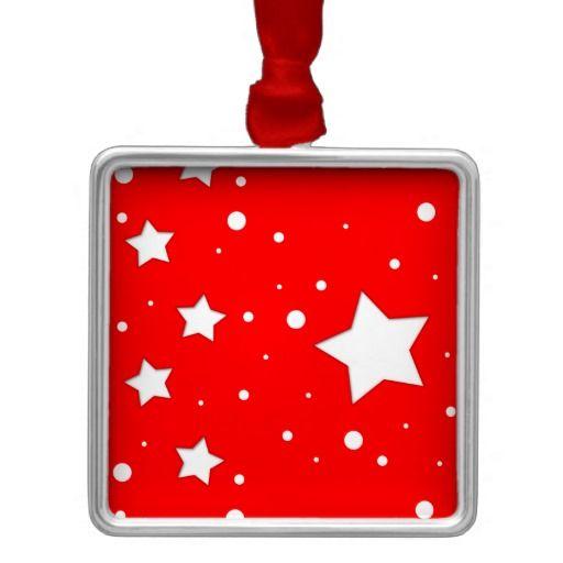Adorno cuadrado - Estrellas sobre fondo color rojo