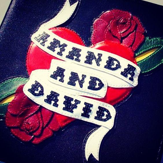 Amanda Peet / David Benioff wedding album. Approximately one million tiny-ass appliquéd parts. Every stitch hand-sewn. #leather #leathergoods #custom #wedding #album #hollywood #madebyhand #ocd