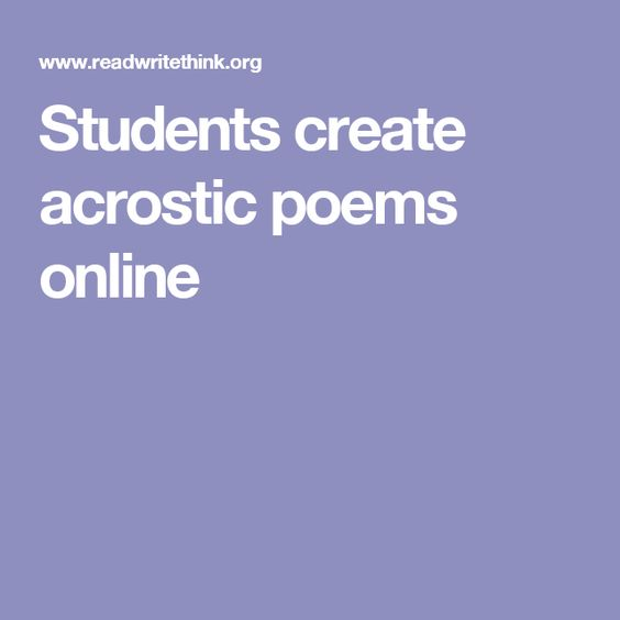Students create acrostic poems online