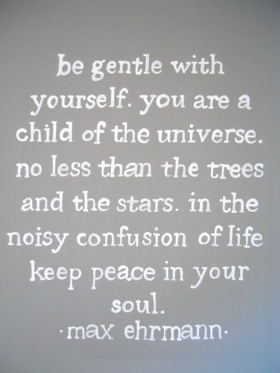 be gentle with yourself. you are a child of the universe. no less than the trees and the stars. in the noisy confusion of life keep peace in your soul. - Max Ehrmann.