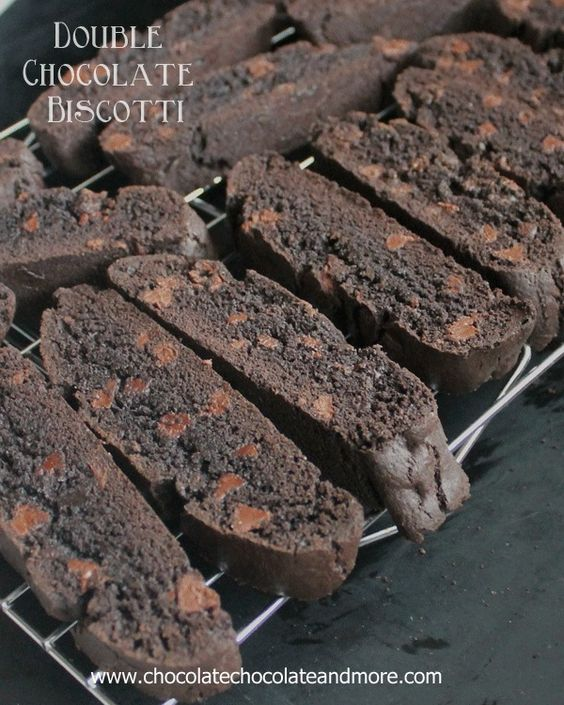 Double Chocolate Biscotti-made with Hersheys Special Dark cocoa and semi-sweet…