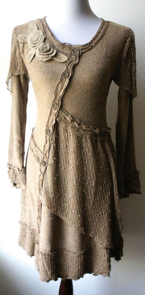 Pretty Angel Vintage Boho Peasant Ecru Sweater Dress-Textured, sparkling, UNIQUE #PrettyAngel #Tunic: