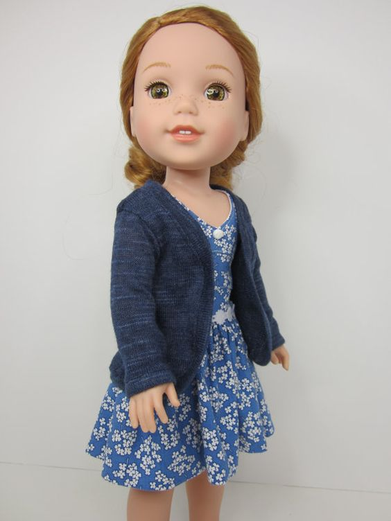 14.5 inch doll clothes -Blue slouch cardigan by JazzyDollDuds.