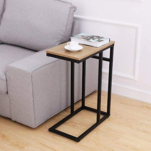 Sofa Snack Wooden Modern Coffee Side Table Laptop Holder C Shape