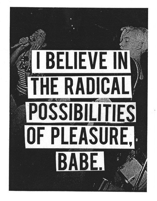 I Believe in the Radical Possibilities of Pleasure Babe.  (Resounding, yes!) http://indiegogo.com/missiongreatsex