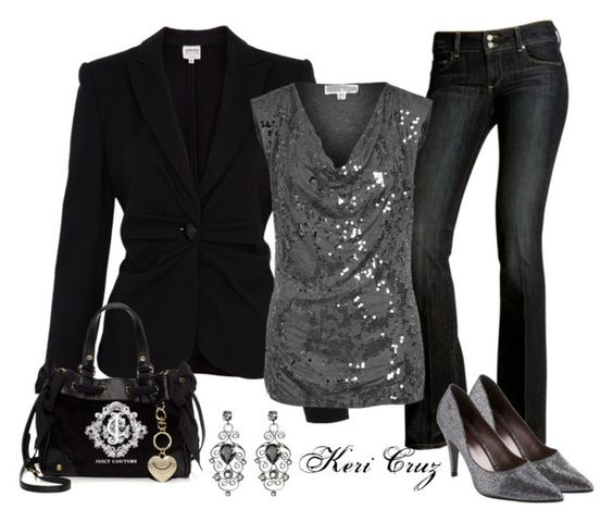 """rockin New Year's Eve"" by keri-cruz ❤ liked on Polyvore featuring Paige Denim, Armani Collezioni, MICHAEL Michael Kors, John Lewis and Juicy Couture"
