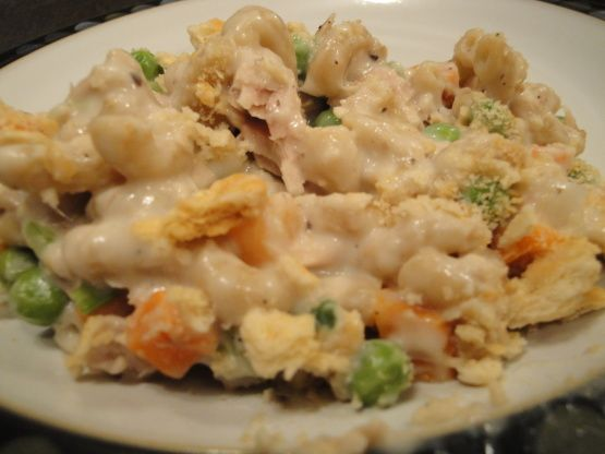 This is a delicious casserole that can be made using either tuna or 1-1/2 cups or more of cooked cubed chicken or even cooked turkey  - for a thinner sauce use 1 cup of milk or half and half instead of 3/4 cup, prep time includes boiling the egg noodles, if you are not a garlic-lover then you may omit the garlic powder and to zing the flavor up even more add in 1-1/2 tablespoons of lemon juice