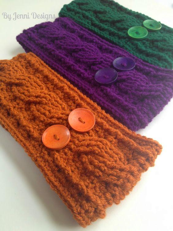 Free Crochet Braided Ear Warmer Pattern : free pattern By Jenni Designs: Crochet Cable Ear Warmer ...