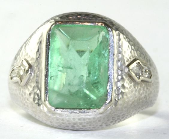 ANTIQUE MENS ARTS & CRAFTS ART DECO HAND WROUGHT 18K GOLD EMERALD DIAMOND RING #HANDMADEBYANARTIST