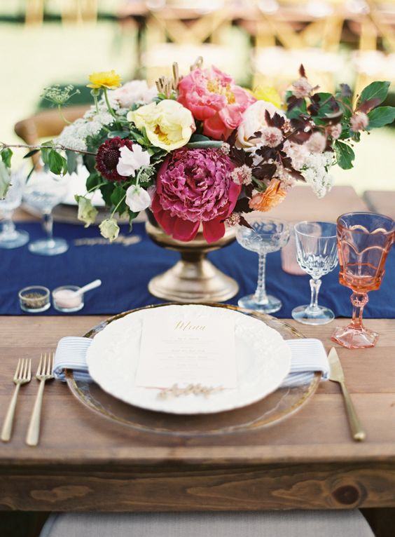 Colorful spring peony wedding centerpiece
