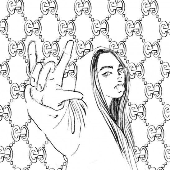 Billie Eilish In Gucci Drawing Billie Eilish Drawing Art Drawings Digital Artwork
