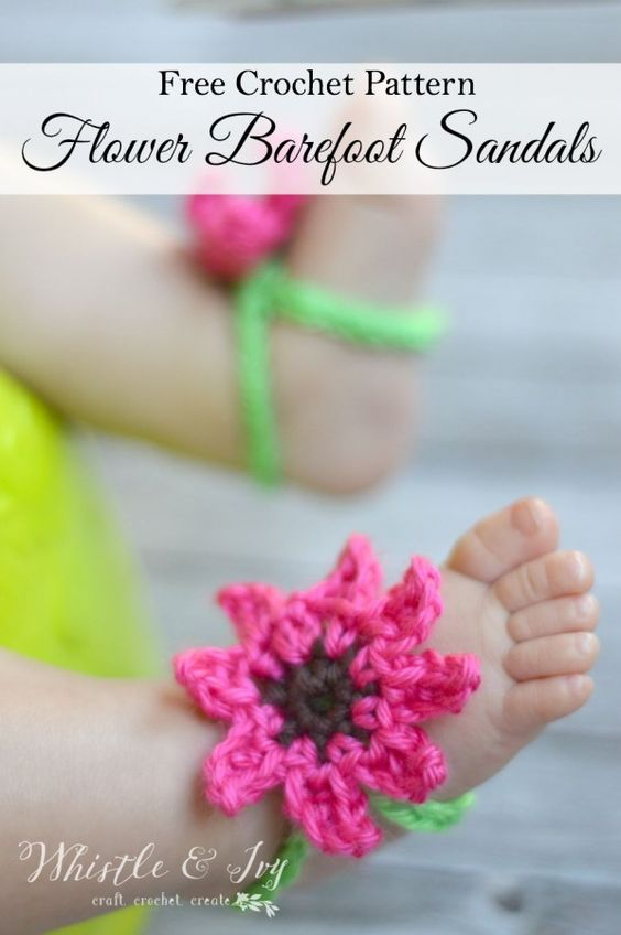 Free Crochet Pattern - Summer Flower Baby Barefoot Sandals | Perfect stretchy and comfy little sandals for baby feet: