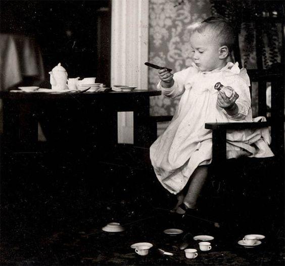 vintage photo 1909 Baby Tea Set Holds Toy knife Salt by maclancy