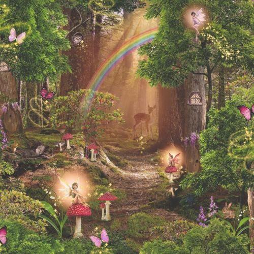 Arthouse Magic Garden Forest Pattern Childrens Wallpaper Pixie Fairy Tree 696009 Fairy Wallpaper Fairy Garden Bedroom Fairy Bedroom