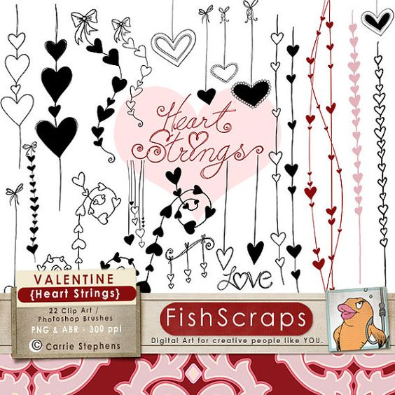 Digital Stamps & Photoshop Brushes -   Valentine Clip Art - Heart Strings - create cards, invitations,  Wedding annoucements - commercial, small business use!