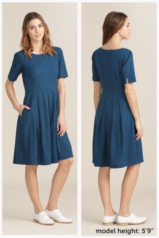 Tregundy Dress | Cotton fit & flare blue dress | Seasalt
