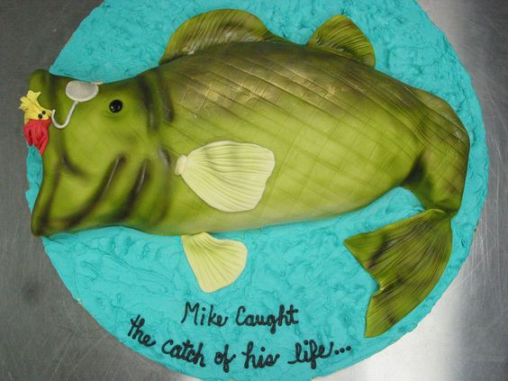 Groom cake sports fishing fisherman lure catch of his life hook hooked birthday cake
