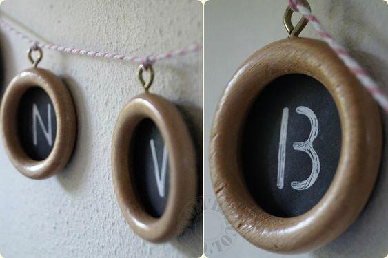 Guirlande -détails ; anneaux de rideau en bois