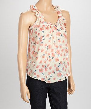 Another great find on #zulily! Rieley Cream & Pink Floral Ruffle Tank by Rieley #zulilyfinds