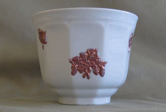 19th Century White Ironstone Copper Lustre Chelsea Grandmother's Ware Teacup Mint