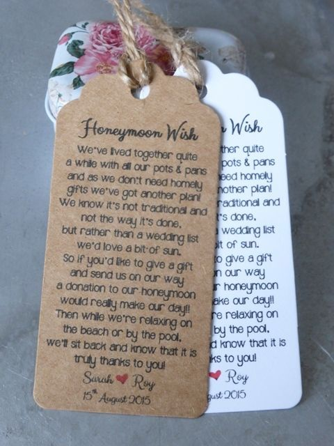 Poems For Wedding Gifts : ... gifts for the travel wedding honeymoons gifts money gift tags poem