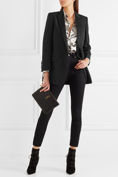 SAINT LAURENT Satin-trimmed wool blazer$5,956 Black wool and satin  Button fastening at front 100% wool; trim: 100% polyester; lining: 100% silk Dry clean Made in Italy: