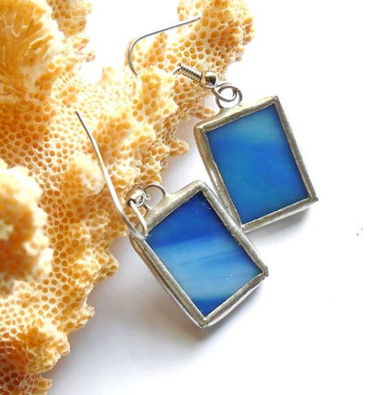 Blue And White Stained Glass Earrings by AfricanSand on Etsy, $22.00