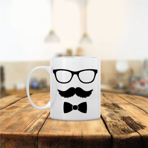Funny Mr. Bow Glasses Mustache Ceramic Coffee Mug  by Mug A Love on Etsy. Anything can be customized for no additional cost! Many Colors to choose from! Ships out same day!  ONLY $12 using Coupon Code: PINITDEC