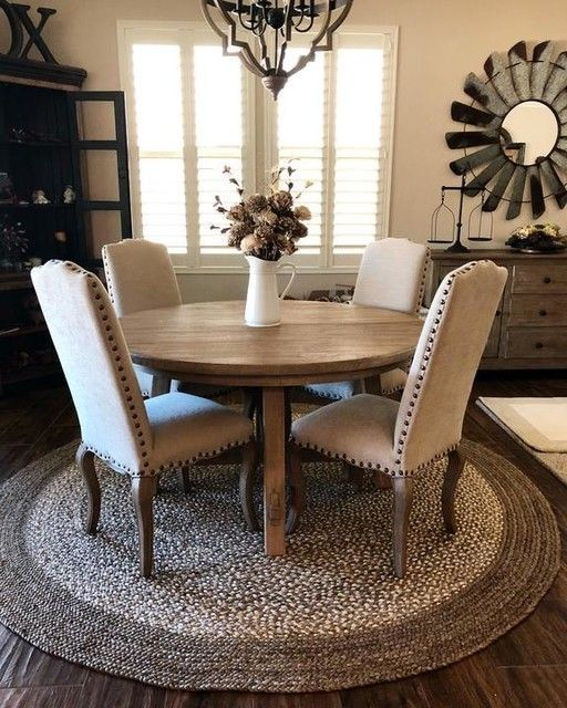 Great Rug Idea For Dining Area Comes In 6 Or 8 Dark Or Light Color Farmhouse Dining Room Rug Farmhouse Dining Room Round Dining Room Table