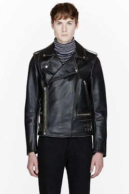 Maison Martin Margiela Black Leather Wrap Around Biker Jacket