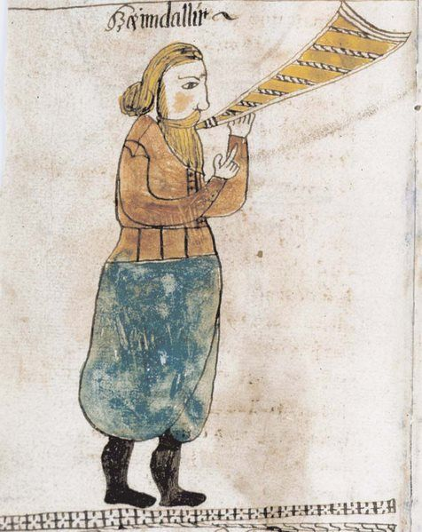 Heimdall from a medieval manuscript.