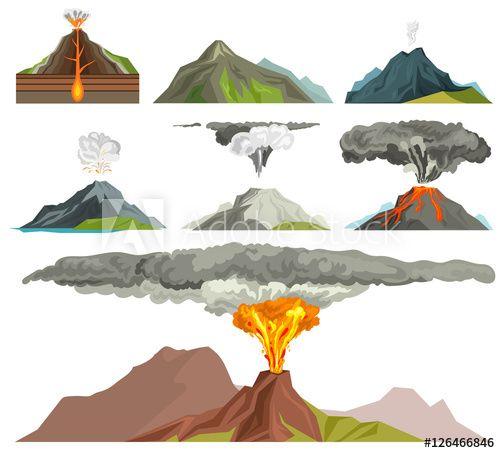 Volcano Vector Illustration In 2021 Nature Vector Volcano Drawing Smoke Vector