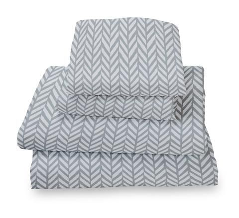 $44.99 for the best sheets I've ever purchased! Grey Herringbone Ultra Microfiber Bed Sheet Set