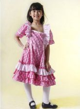Beautiful Floral Short Sleeves Cotton Sweet Kids Lolita Dress