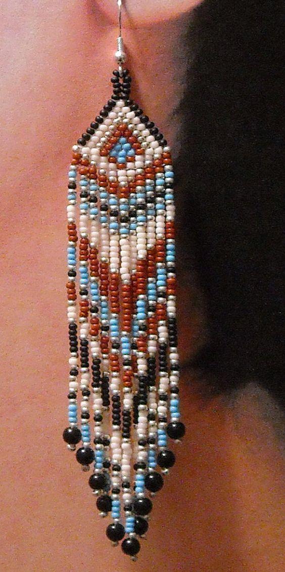 Native American Beaded Earrings Arrowhead Top Long By