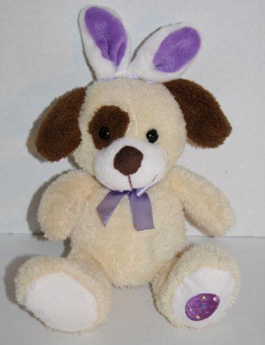 Walmart Toys Puppy : Walmart cream brown puppy dog easter purple bunny ear