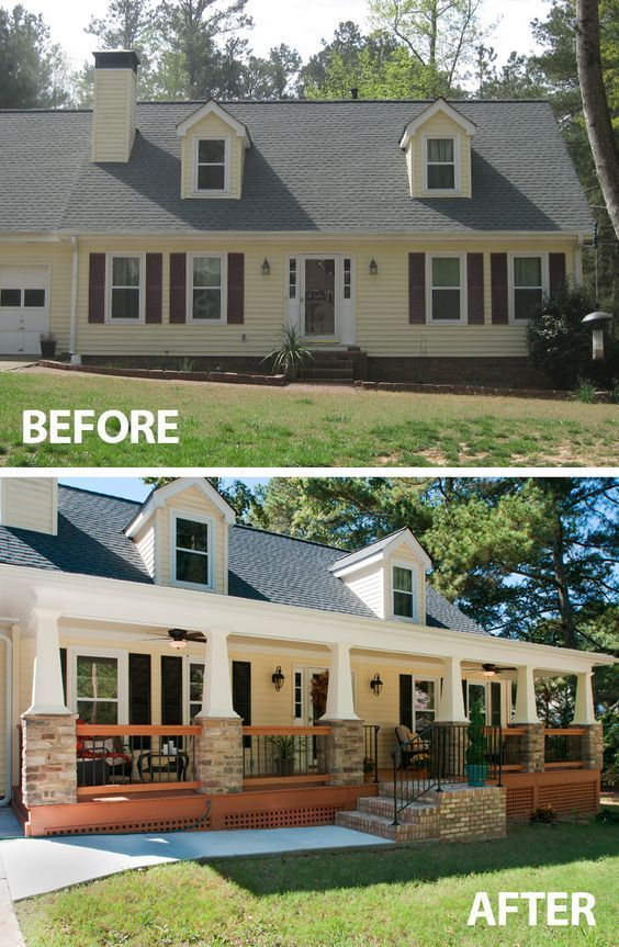 Before And After Front Porch Makeovers Home Exterior Makeover