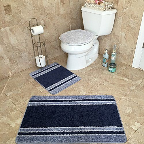 3 Piece Bathroom Rug Sets Anti Bacterial Rubber Back Non Skid