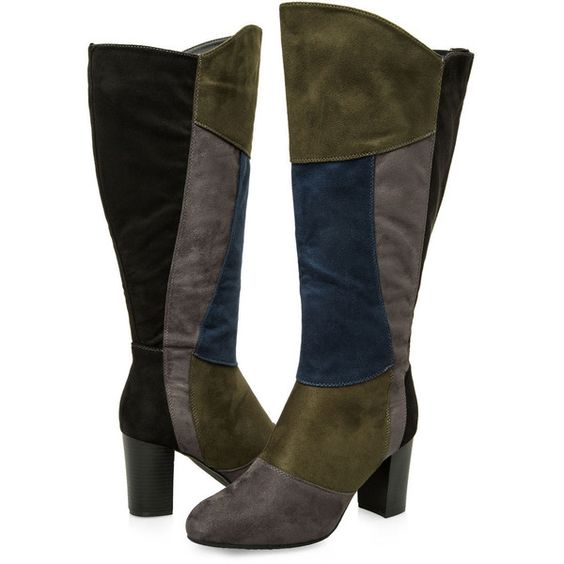 Ashley Stewart Colorblock Tall Boot - Wide Calf, Wide Width (£69) ❤ liked on Polyvore featuring shoes, boots, knee-high boots, high heel boots, stretch knee high boots, wide calf stretch boots, wide calf knee high boots and wide width knee high boots